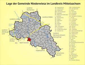Lage der Gemeinde Niederwiesa im Landkreis Mittelsachsen
