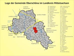 Lage der Gemeinde Oberschöna im Landkreis Mittelsachsen