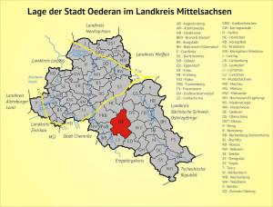 Lage der Stadt Oederan im Landkreis Mittelsachsen