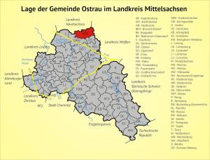 Lage der Gemeinde Ostrau im Landkreis Mittelsachsen
