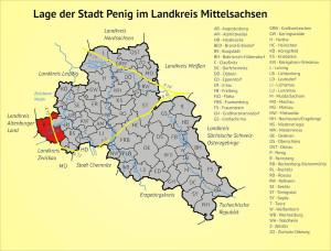 Lage der Stadt Penig im Landkreis Mittelsachsen