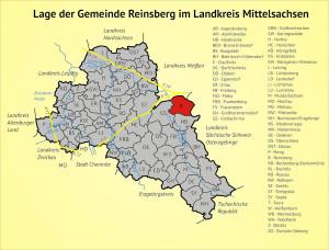 Lage der Gemeinde Reinsberg im Landkreis Mittelsachsen