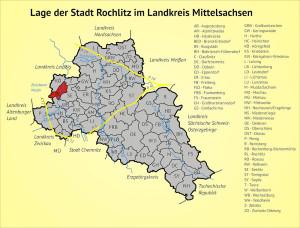 Lage der Stadt Rochlitz im Landkreis Mittelsachsen