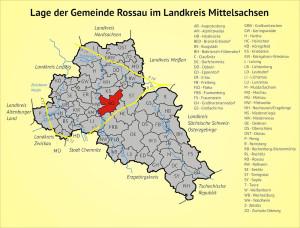 Lage der Gemeinde Rossau im Landkreis Mittelsachsen