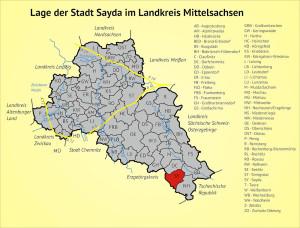 Lage der Stadt Sayda im Landkreis Mittelsachsen