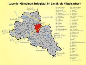 Lage der Gemeinde Striegistal im Landkreis Mittelsachsen
