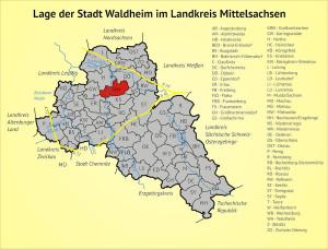 Lage der Stadt Waldheim im Landkreis Mittelsachsen