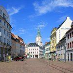 Obermarkt mit Turm der Nicolaikirche in Döbeln