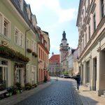 Ev. Nicolaikirche DöbelnObermarkt mit Blick zum Rathaus Döbeln