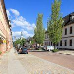 Marktplatzbebauung Rochlitz, Rathausstraße mit Kunigundenkirche