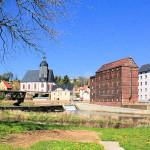 Petrikirche und Mühle an der Zwickauer Mulde