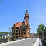 Muldebrücke und Rathaus Waldheim