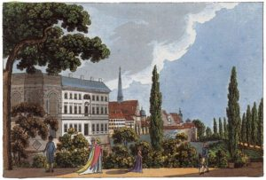 Leipziger Bürgerschule 1804 (Quelle:    http://www.zeno.org/Kunstwerke/B/Schwarz,+Carl+Benjamin%3A+Leipzig,+B%C3%BCrgerschule
