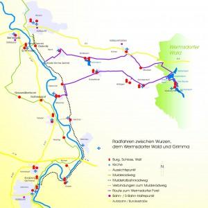 Radfahren zwischen Wurzen, dem Wermsdorfer Wald und Grimma